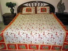 Indian Bedding 3pc Cotton Bed Throw with Pillow Shams Red Green Floral Elephant Print Bedspread Throw by Mogul Interior, http://www.amazon.com/dp/B00C591X4Q/ref=cm_sw_r_pi_dp_kCexrb0T20AQP
