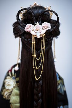 Hana no Hime by amadiz on - Hair Braids Cute Hairstyles, Braided Hairstyles, Fantasy Hairstyles, Medieval Hairstyles, Japanese Hairstyles, Hair Inspo, Hair Inspiration, Bjd, Dress Dior