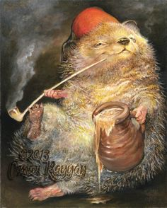 (Nanny Og☺)Happy Hedgehog print pipe smoking beer relax chill out Art And Illustration, Fantasy Kunst, Fantasy Art, Omar Rayyan, Happy Hedgehog, Wow Art, Whimsical Art, Conte, Art Plastique