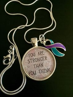Domestic Violence Awareness / Sexual Assault Awareness Necklace - Teal and Purple Ribbon Charm - Stronger than you Think / Rape Awareness by RockYourCauseJewelry on Etsy