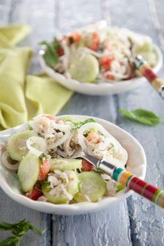 Vidalia Onion and Lump Blue Crab Salad - Paula Deen  I would do w/o crab just as veggies ~dc