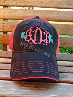 03e8040e217 LADIES State Monogram Mesh Back Baseball Cap Hat Mom 50 States Bride  Bachelorette Summer Beach Hat Trucker Hat Louisiana Texas Carolina