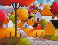 8x11 Art Print of Autumn Town Road, Modern Folk Art Fall Village Church Landscape, Reproduction Giclee Artwork by Cathy Horvath