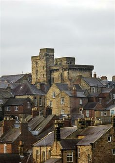 The Hexham skyline, with the Castle and Goal, Northumberland, England. The prison is reputed to be the oldest purpose built prison in England circa 1330