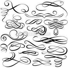 Royalty-Free Vector Clip Art Illustration of a Digital Collage Of Black And White Ornate Calligraphic Design Elements - 1 by dero Calligraphy Letters, Modern Calligraphy, Caligraphy, Flourish Calligraphy, Calligraphy Doodles, Website Design, Web Design, Schrift Tattoos, Handwriting Analysis