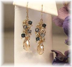 Dark Blue Blend Earrings, Bridesmaid Earrings, Navy Blue Bridesmaids, 14k Gold Filled and Swarovski Crystal, Dark Blue Earrings