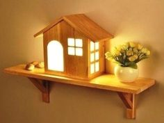 Nordic Creative House LED Solid Wood Wall Lamp Small Home Shelf Indoor Mounted Light for Bedside Bedroom Aisle Lights Children's.