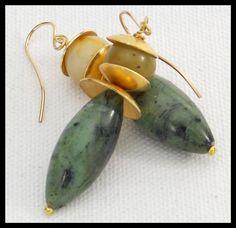 JADE on JADE - Stunning Jade & Handforged Bronze Long Statement Earrings by sandrawebsterjewelry on Etsy