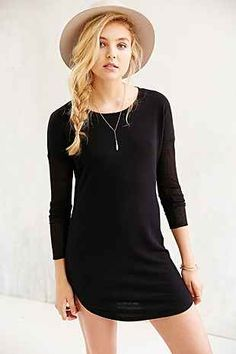 BDG Rib-Sleeve Knit T-Shirt Dress - Urban Outfitters