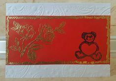 Handmade embossed greeting card - gold on red, happy birthday card, teddy bear card, thank you card, merry christmas to you all card by ArtDenia on Etsy