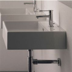 Nameeks Teorema R 40 Wall Mounted Or Above Counter Bathroom Sink in White | KitchenSource.com