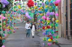 Street dressed in paper flowers in the town of Atotonilco el Alto, in Jalisco, Mexico