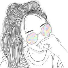 outline, girl, and draw image Tumblr Girl Drawing, Tumblr Sketches, Tumblr Drawings, Girl Drawing Sketches, Cute Girl Drawing, Girly Drawings, Tumblr Art, Outline Drawings, Tumblr Girls