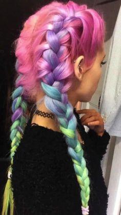 Cute Hair Colors, Pretty Hair Color, Hair Color Purple, Hair Dye Colors, Blue And Pink Hair, Pink Wig, Pastel Hair Colors, Fun Hair Color, Exotic Hair Color