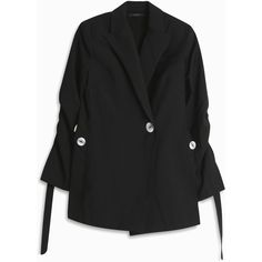 ELLERY Gene Button Blazer (5,025 PEN) ❤ liked on Polyvore featuring outerwear, jackets, blazers, ruched sleeve blazer, one-button blazer, oversized jackets, button jacket and oversized blazer