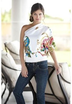 Body Central- Printed One Shoulder Top