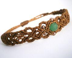 Macrame bracelet/Emerald gemstone bracelet/Macrame jewelry/Bohemian jewelry/Micromacrame