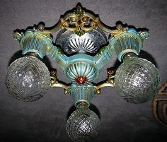 "ANTIQUE-DECO-CHANDELIER-CAST-METAL-RIDDLE-FLUSH-MOUNT-CEILING-FIXTURE-1930s ~Mar 2015, $299 OBO ~ ONE chandelier by the famous RIDDLE Company.  THIS IS AN  ART DECO  3  LIGHT ( REGULAR MEDIUM SIZE SOCKET UP TO 150 WATTS EACH, NOT INCLUDED )  CEILING FIXTURE WHICH  IS IN    VERY GOOD CONDITION WITH NEW  WIRES  .  THIS DECO PERIOD LIGHTING ""INSTRUMENT"" WAS CREATED  IN THE 1930's    AND HAS BEEN  REWIRED  AND   REFINISHED~~  ALL WITH THE INTENTION OF RETURNING HER BACK TO HER ORIGINAL BEAUTY…"