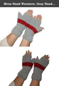 """Mens Hand Warmers, Gray Handmade Crochet Winter Fingerless Mittens, Woman Texting Gloves. These gray and red crochet men's or women's fingerless gloves are the perfect for work or play. These gloves are fitted for womens or mens hands, they are 9"""" long and 9"""" around the palm with separate thumb hole, One size fits most. The crochet wristwarmers are just the right size, luxuriously soft and the perfect color. I love the look of these mitts and I love to make them. If you want a different..."""