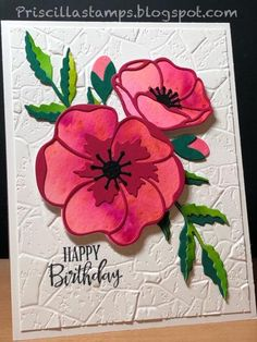 Poppy Moments dies with Pigment-Sprinkled flowers and leaves. Stones embossing folder background Poppy Moments dies with Pigment-Sprinkled flowers and leaves. Diy Note Cards, Cards Diy, Stampin Up Karten, Poppy Cards, Stamping Up Cards, Happy Birthday Cards, Flower Cards, Homemade Cards, Making Ideas