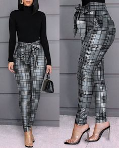 Grid Design Casual Skinny Fit Bow Tied Hight Waist Pants, S Trend Fashion, Fashion Pants, Fashion Outfits, Style Fashion, Sporty Fashion, Mod Fashion, Fashion Ideas, Fashion Jewelry, Classy Dress