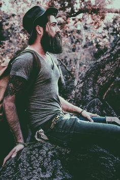 Lane Toran - full thick dark beard mustache beards bearded man men mens' style fashion clothing fall autumn tattoos tattoooed bearding #beardsforever