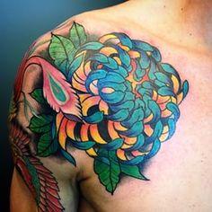 blue orange chrysanthemum flower tattoo