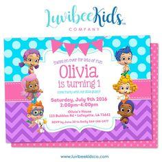 Bubble Guppies - Birthday Invitation - Girl's Style | Blue & Purple | 001