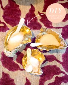 For the table - Oyster Shell Salt Cellars - Design*Sponge Paint with liquid gold leaf and tried and true varnish oil to make it food safe. #Anthropologie #pintowin