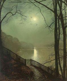 John Atkinson Grimshaw (Inglaterra, 1836-1893) - Luz de luna en el lago (Roundhay Park), 1872. Óleo sobre lienzo, 76.3 x 63.5 cm (colección privada)