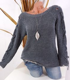 36 38 40 42 STRICK PULLOVER KUSCHEL PULLI AUSGEFALLEN ARM S M L DUNKELGRAU #Blogger #Strick #Mode #Damenmode #Fashion #grau #Trend