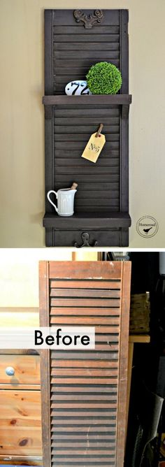 Check out how to build a DIY shelf from old shutters @istandarddesign