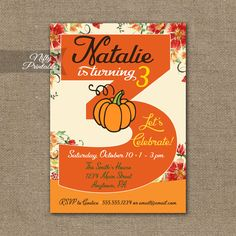 3rd Birthday Invitation – Pumpkin Birthday Invitation