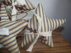 Set of 3 Primitive Americana Patriotic Ticking Stripe Bowl Fillers on Etsy, $12.00
