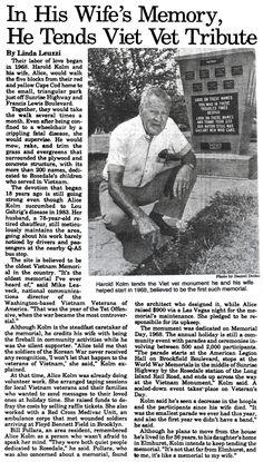 He Tends Vietnam Veteran Memorial In Honor Of His Wife