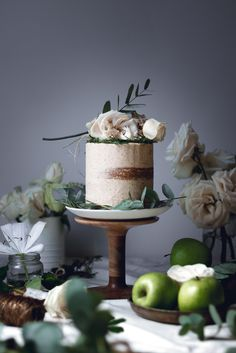 Gingerbread cake caramelized apples and brown butter frosting