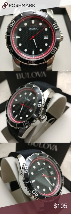 Bulova Black Dial Mens Sports Watch 98B260 New Rubber bands Quartz Comes with box and manual Bulova Accessories Watches