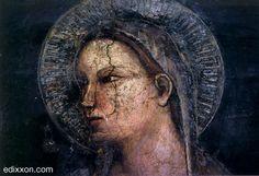 Allegretto Nuzi - Madonna col bambino, dettaglio - affresco - Fabriano, Chiesa di San Domenico, Sala Capitolare.