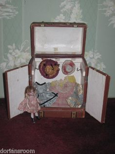 RARE All Original Antique Miniature French Fashion Doll Traveling Trunk | eBay