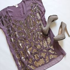 "▪️SALE▪️Gold Hawk Silk Sequin Tunic Dress Gold Hawk Silk Sequin Tunic Top in neutral plum and beautiful bronze sequin design.  Separate tunic slip with adjustable straps.  Pre-loved but in excellent condition.  Small stain on slip, see pic.  Slight signs of loose stitching near neckline, see pic.  No other damage, holes or tears.  True color in first pic.  ▪️SALE! $80 marked down to $69!▪️  Measurements laying flat: Armpit to armpit: 21.5"" Waist (across): 18.5"" Hips: 19"" Top of shoulder to…"