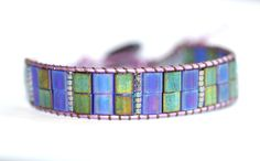 Purple and Blue Mosaic Tila Beaded Single Wrap Bracelet Leather Cord Bracelets, Leather Jewelry, Cuff Bracelets, Diy Jewelry, Beaded Jewelry, Jewellery, Blue Mosaic, Bugle Beads, Purple Leather