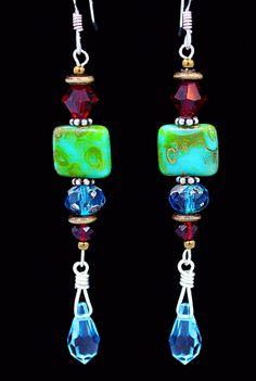 Swarovski & turquoise Czech crystal earrings