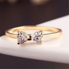 1.09AUD - 2016 Popular Crystal Gold Plated Stylish Finger Bow Wedding Engagement Ring Gift #ebay #Fashion