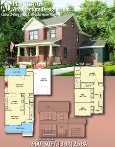 Architectural Designs Craftsman Home Plan gives you 3 bedrooms, baths and Craftsman House Plans, New House Plans, Modern House Plans, Small House Plans, House Floor Plans, Craftsman Interior, American Houses, Sims House, Farmhouse Plans