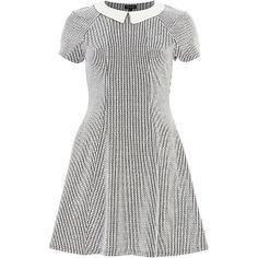 White textured contrast collar skater dress - skater dresses - dresses - women