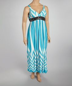 Take a look at this Turquoise Embellished Maxi Dress - Plus by Life and Style Fashions on #zulily today!