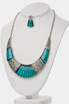 Amazing Crescent Crystal Necklace Earrings SET (Teal) - $22.00