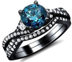 Vintage AAA Quality Blue Cubic Zirconia 925 Sterling Silver Black Engagement/Wedding Ring Bridal Set - USD $149.95