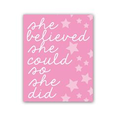Typography Print Nursery Quote She Believed She by GandGPrints