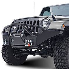 GSI 07-16 Jeep Wrangler JK Black Textured Full Width Front Bumper With Fog Lights Hole and Winch Plate (Black)